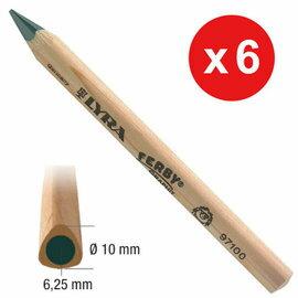 【德國LYRA】兒童三角原木鉛筆(12cm) 6入 ★附贈雙孔削筆器