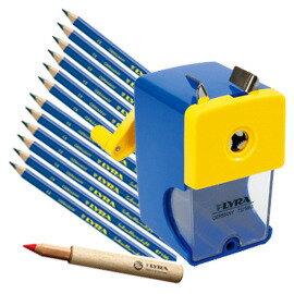 【德國LYRA】兒童三角習字筆超值組 @產品內容:兒童三角習字筆(12入)+鉛筆延長器+削鉛筆機