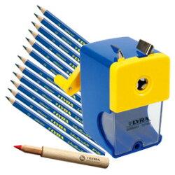 【德國LYRA】兒童三角習字筆超值組 @產品內容:兒童三角習字筆(12入)+鉛筆延長器+削鉛筆機  ★加贈:Lyra筆筒