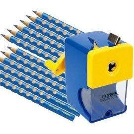 【德國LYRA】三角洞洞鉛筆超值組 @三角洞洞鉛筆12入(3色可選)+削鉛筆機 ★加贈:原廠LYRA雙孔削筆器+橡皮擦
