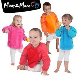 【紐西蘭Mum 2 Mum】神奇長袖吸水圍兜-加大(橘/桃紅/藍/紅)
