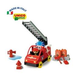 【義大利Unico】主題系列-消防車組/積木-20pcs 義大利製