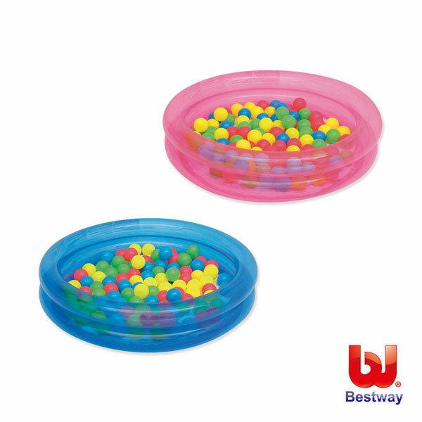 《Bestway》36X8吋雙環充氣球池/水池附50顆彩球-藍、粉紅(69-15846)