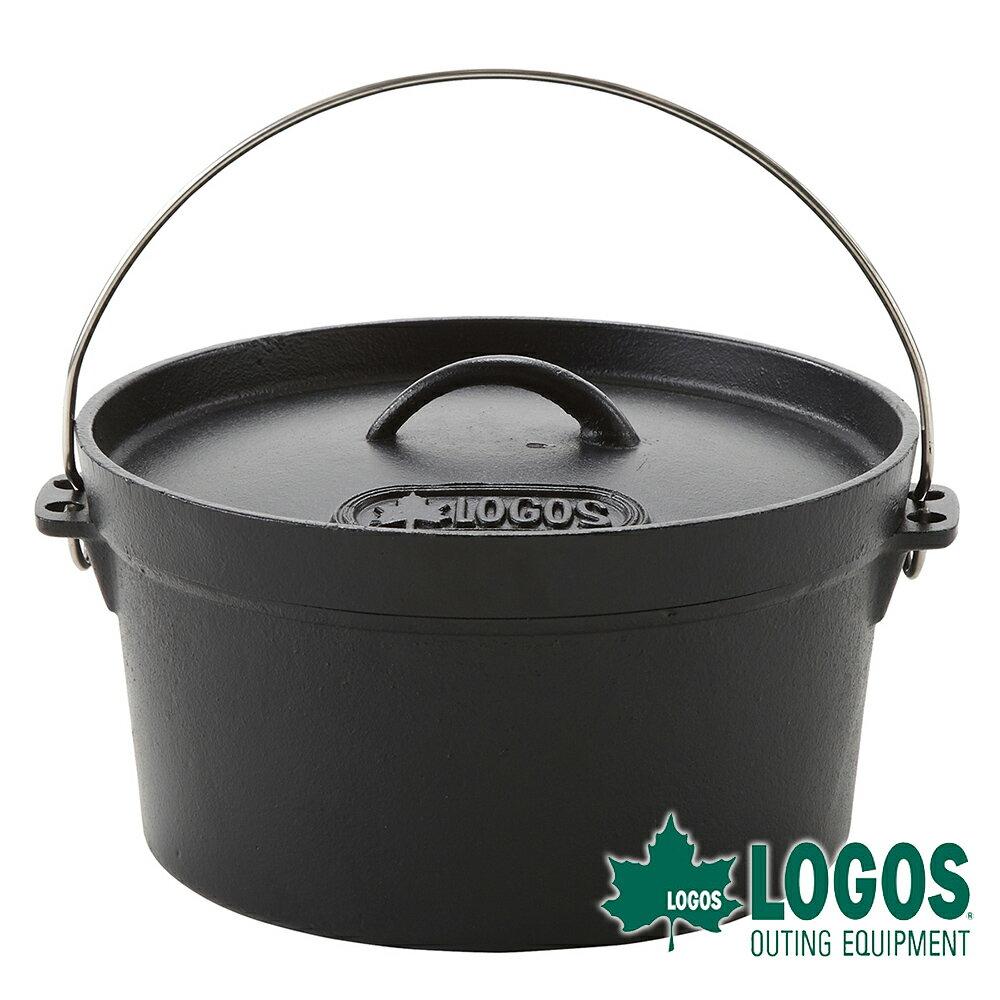 【日本LOGOS】SL豪快魔法調理荷蘭鍋10吋(附袋) 鑄鐵鍋 黑鍋 煎盤 BBQ 烤肉 瓦斯爐焚火台可用 81062229