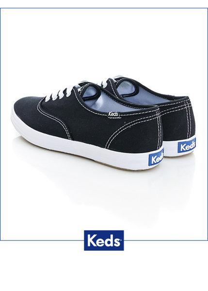 Keds 品牌經典帆布鞋-黑色 綁帶│懶人鞋│平底 1