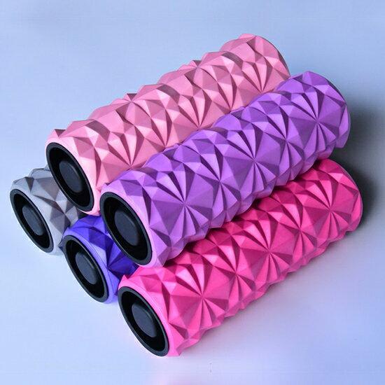 瑜珈滾輪 瑜珈柱 泡沫軸 滾軸 瑜伽 狼牙棒 皮拉提斯 EVA 滾筒輪 按摩滾筒 按摩器 運動 健身 紓壓 加蓋 放鬆棒 鑽石紋瑜珈滾輪 ♚MY COLOR♚【A014】