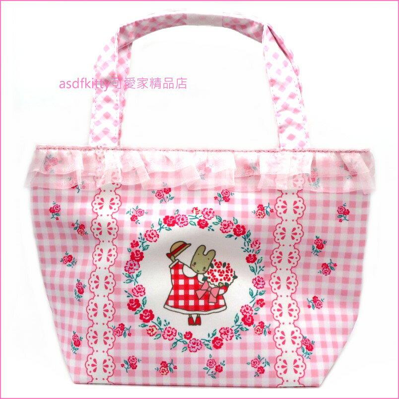 asdfkitty可愛家☆茉莉兔粉格玫瑰手提袋/收納袋/置物袋/購物袋-日本正版商品