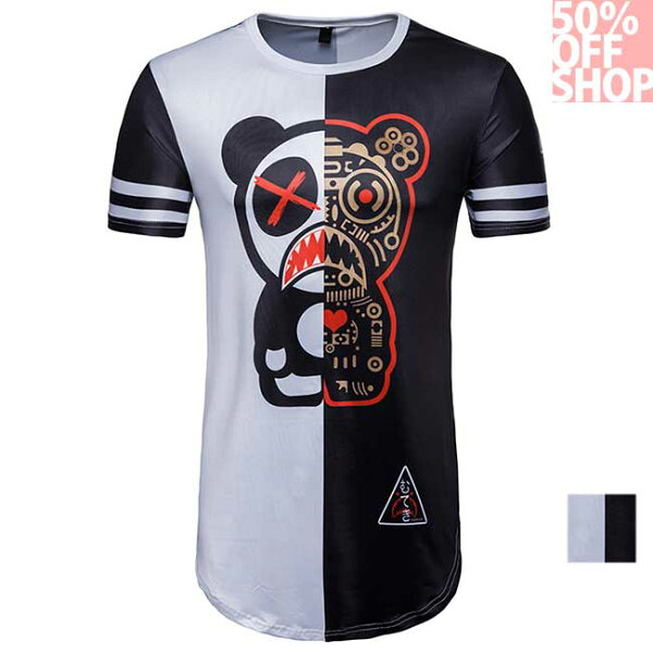 50%OFFSHOP拼接撞色美式小熊短袖T(1色)(S-XXL)【AG035974C】