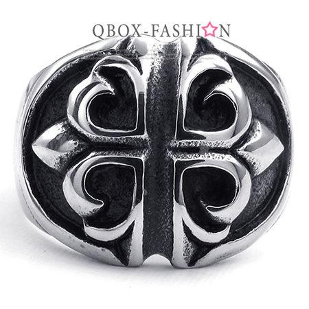 《QBOX》FASHION飾品【W10023336】精緻個性復古捲紋十字鑄造316L鈦鋼戒指戒環