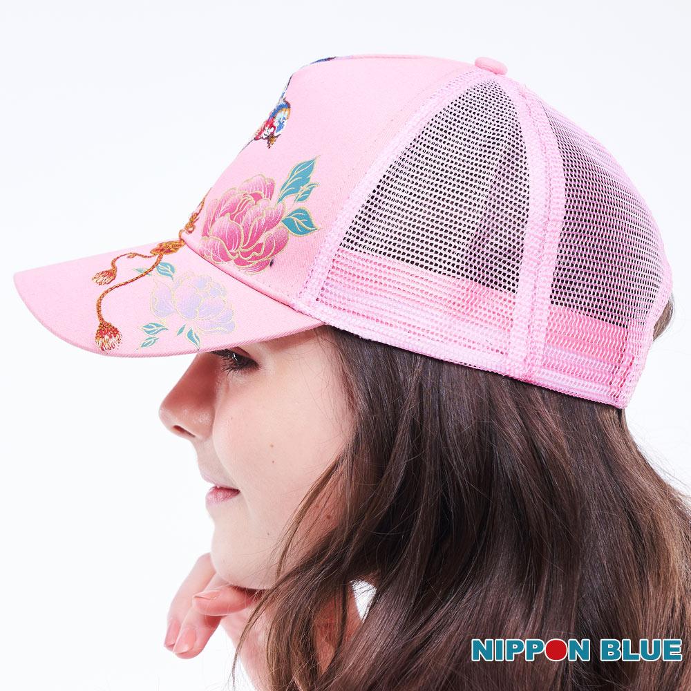 BLUE WAY  日本藍  精繡五彩相思鳥網帽(粉) 1