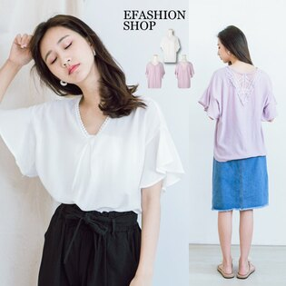 eFashion:背V蕾絲荷葉袖上衣-eFashion預【H15732810】