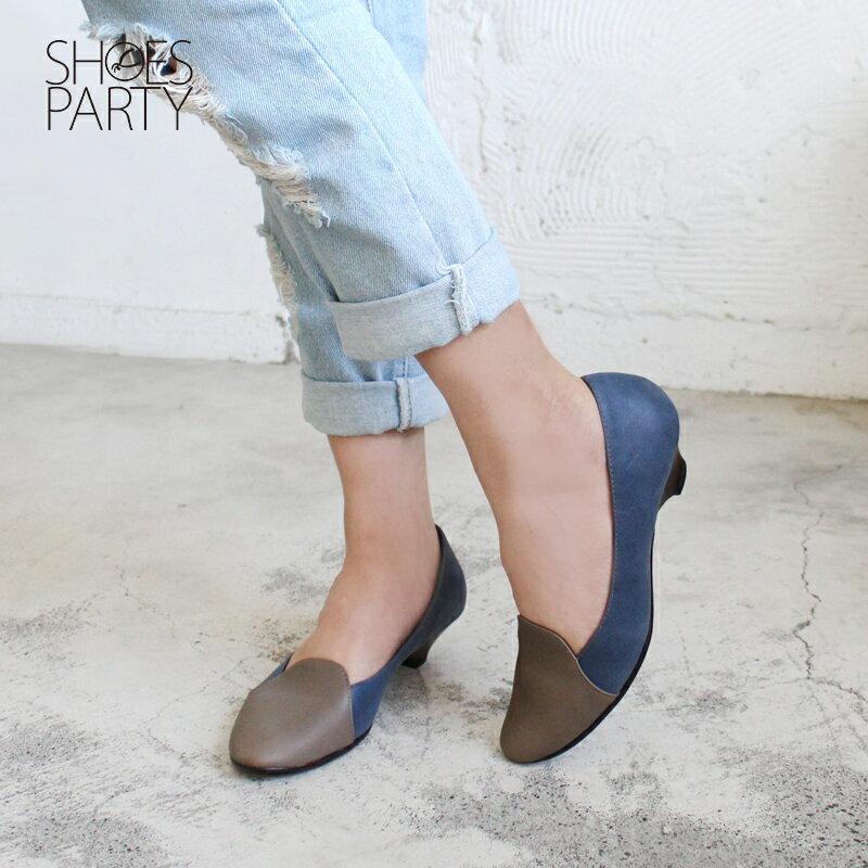 【P2-17123L】拚色氣質真皮低跟鞋_Shoes Party 2
