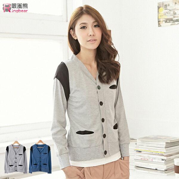 外套--配色羅紋接袖 棉質長袖外套(灰.藍M-XL)-J187眼圈熊中大