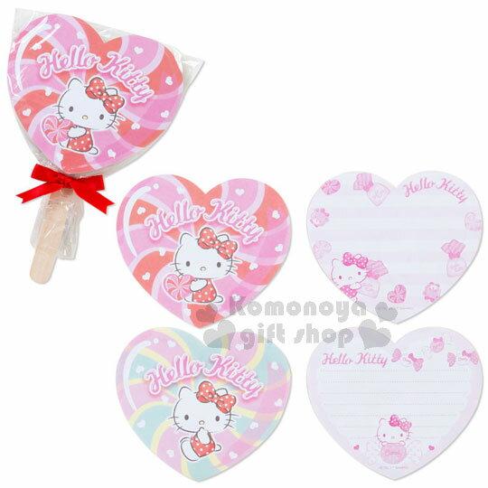 〔小禮堂〕Hello Kitty 造型便條本《紅粉.愛心.坐姿.愛心棒棒糖型》2種圖案.糖果文具系列