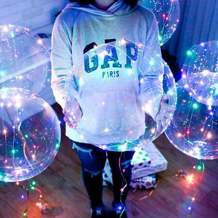 18吋透明波波球(包含LED彩燈) 未充氣 發光氣球 波波球 氣球 帶燈 派對 生日 告白 網紅【B063039】