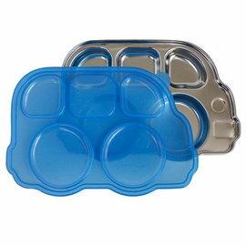 【淘氣寶寶】美國Innobaby不鏽鋼巴士造型餐盤(新款附蓋)巴士餐盤藍色【保證公司貨】