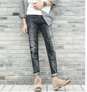 FINDSENSE品牌新款歐美風潮男個性時尚韓版小腳牛仔褲修身