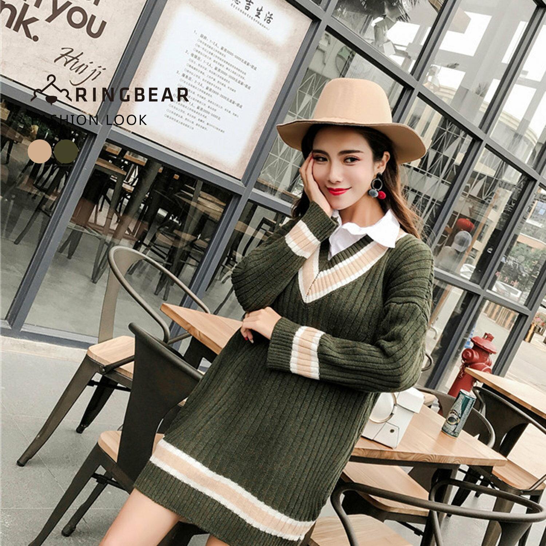 針織毛衣--保暖氣質典雅線條V領優雅連袖羅紋針織上衣(綠.杏XL-3L)-X275眼圈熊中大尺碼 1