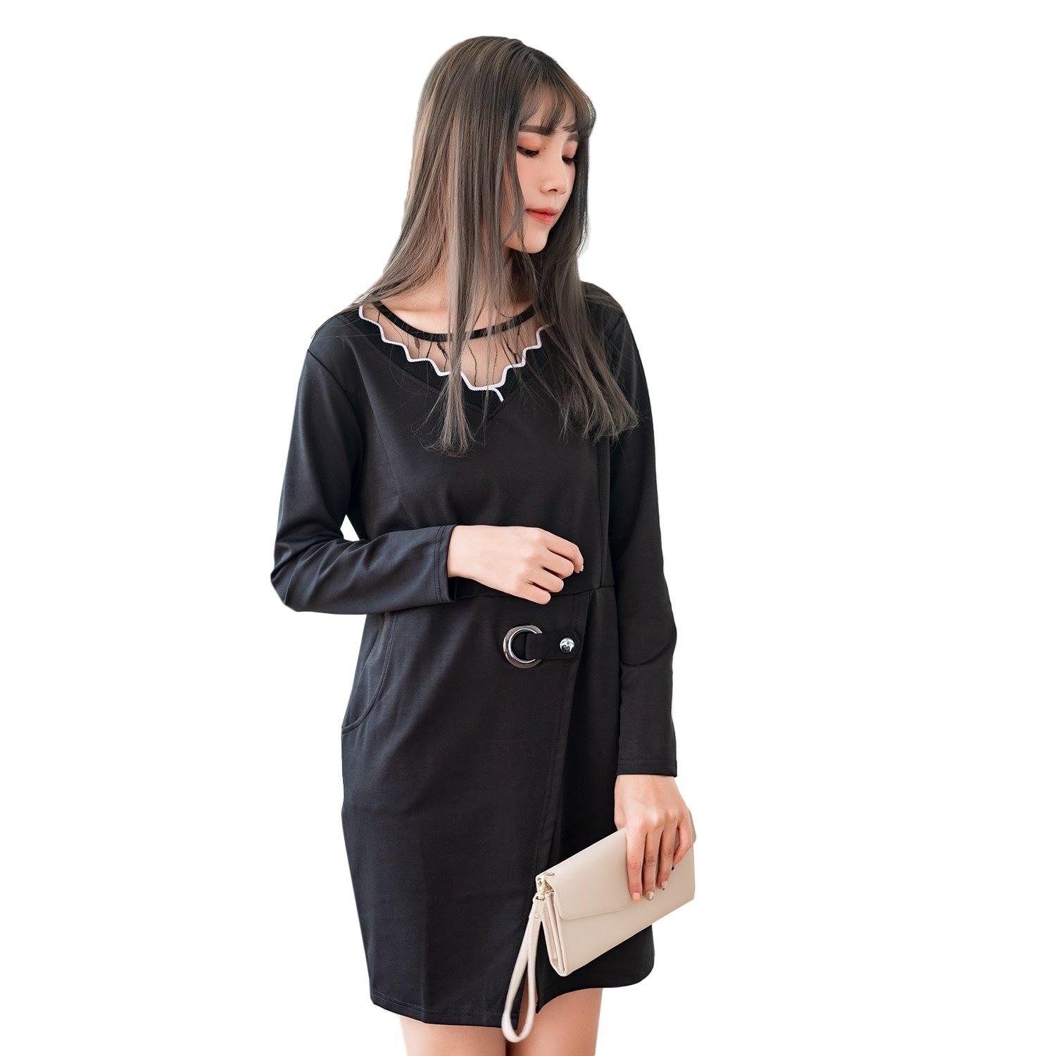 氣質洋裝--專業性感蕾絲金屬環反摺扣口袋開衩圓領長袖連衣裙(黑M-3L)-A352眼圈熊中大尺碼 0