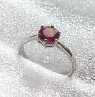 經典紅寶石紅剛玉西德鋼戒指