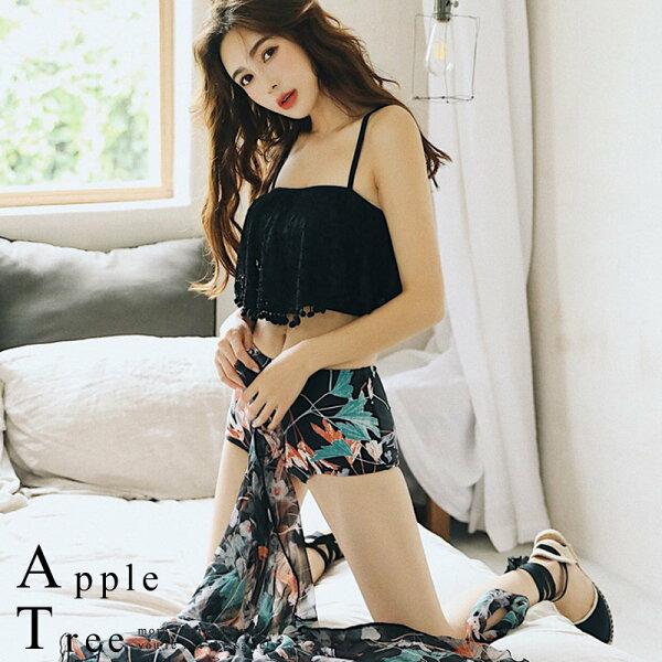 AT日韓-蕾絲荷葉黑色系三件套比基尼泳裝【806030】