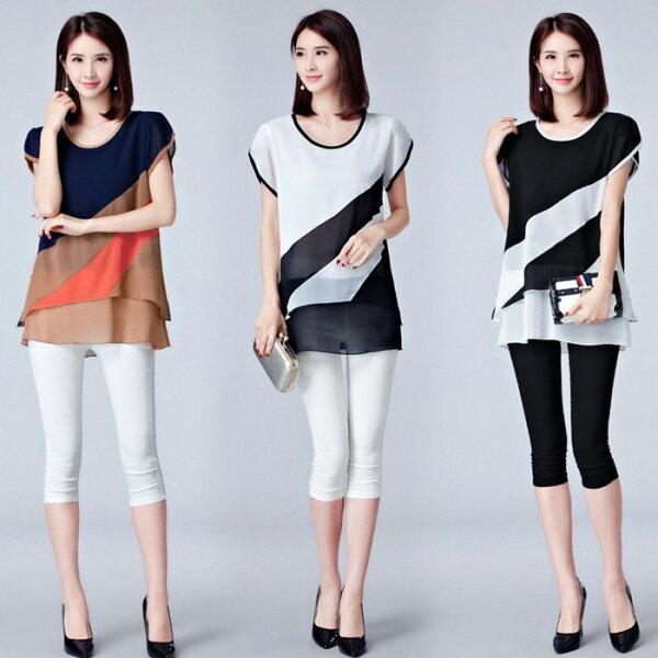 糖衣子輕鬆購【GH9080】韓版時尚潮流顯瘦寬鬆拼接條紋雪紡衫上衣