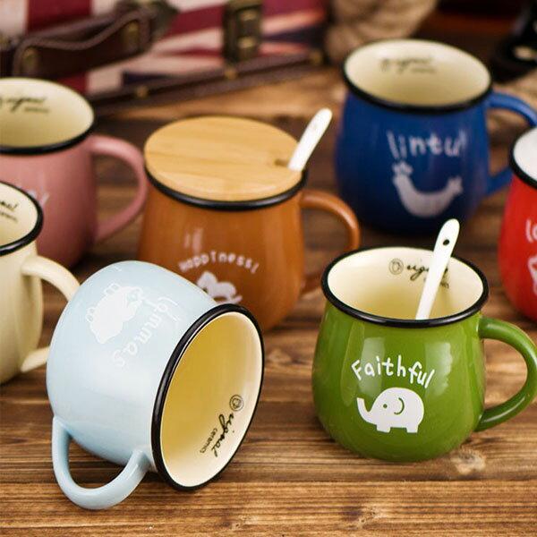 BO雜貨【SV8316】動物陶瓷咖啡牛奶馬克杯簡約森林設計陶瓷杯早餐杯咖啡杯水杯馬克杯牛奶杯圓肚杯