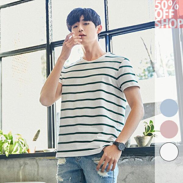 50%OFFSHOP圓領條紋純棉短袖t恤衣服(3色)(M-XXL)【BA036072C】