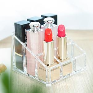 美麗大街【BF271E9】透明亞克力化妝盒桌面整理盒梳妝台9格口紅化妝品收納盒