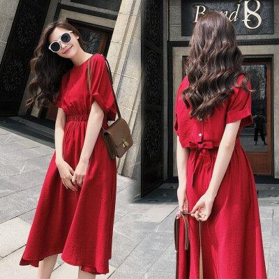 韓系女裝中長款蝴蝶結露腰紅色短袖雪紡裙連身裙洋裝樂天時尚館。預購