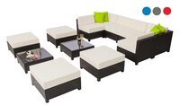 Mcombo 12 pcs Luxury Wicker Patio Sectional Indoor Outdoor Colors Sofa Furniture Aluminum Frame Set-Cream  White 6080-1012W