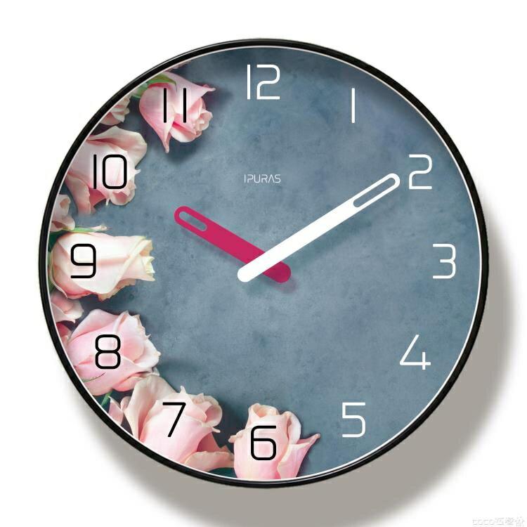 掛鐘北歐ins少女心掛鐘客廳裝飾創意網紅時鐘掛墻家用靜音鐘表免打孔衣巷
