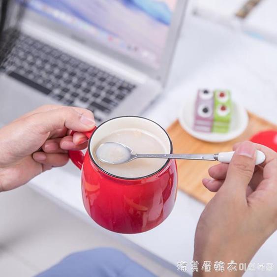 杯子創意個性潮流陶瓷馬克杯帶蓋勺咖啡水杯家用茶杯男女定制LOGO  夏洛特居家名品