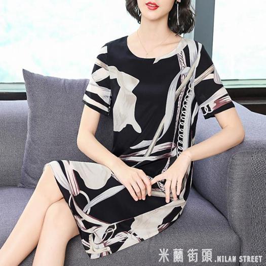 2020夏季新款大牌絲綢中年媽媽雙縐真絲洋裝女桑蠶絲正宗 夏洛特居家名品