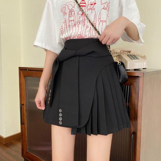工裝裙2020新款韓版不規則A字半身裙女顯瘦高腰百褶裙短裙子  夏洛特居家名品