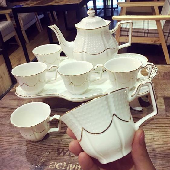 花茶杯套裝 歐式骨瓷套裝英式高檔茶具創意陶瓷杯簡約家用杯 - 夏洛特居家名品