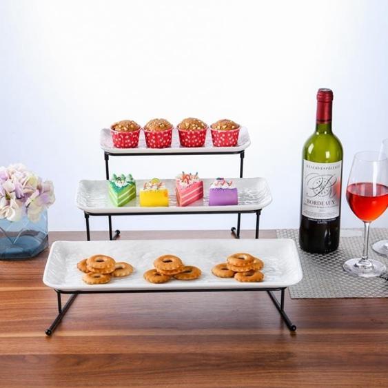 碟子 蛋糕盤多層糕點盤客廳創意糖果托盤架子陶瓷水果盤DF