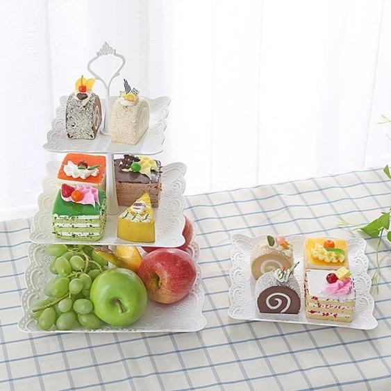 碟子 塑料水果盤下午茶點心蛋糕架創意干果多層托盤甜品臺生日禮品
