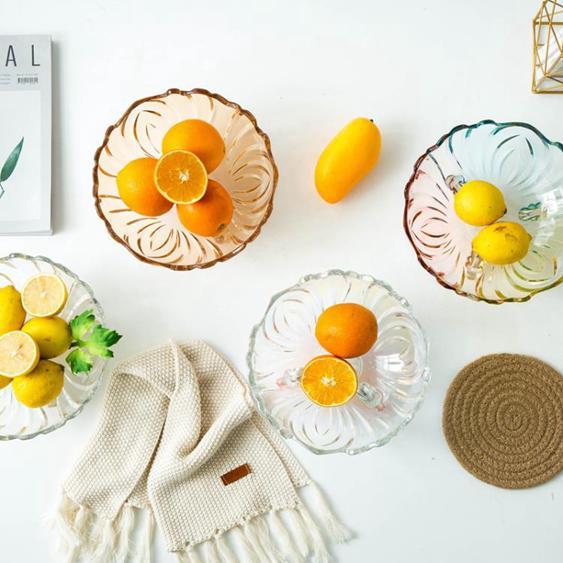 水果盤 家用水果盤水晶玻璃碗糖果盒創意現代簡約客廳茶幾果盆大號果籃