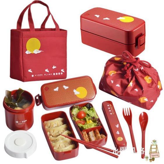 便當盒日本ASVEL雙層飯盒便當盒日式餐盒可微波爐加熱塑料分隔午餐盒