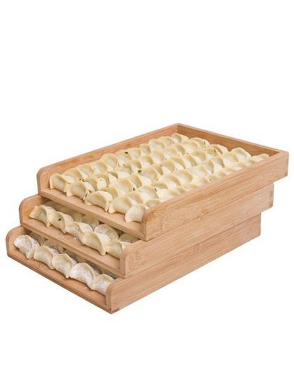 冰箱餃子盤托盤家用竹制餃盤商用竹盤簾水餃盤子放餃子的盤煎餃盤-