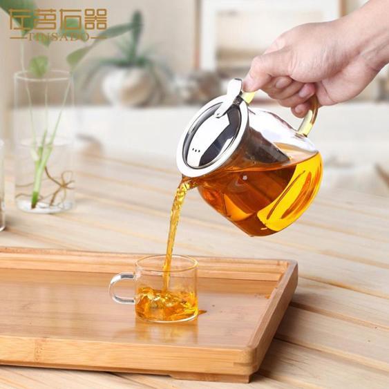 【飄逸壺】左茗右器大號玻璃茶壺茶水分離不銹鋼過濾花茶壺加厚耐熱單壺茶具