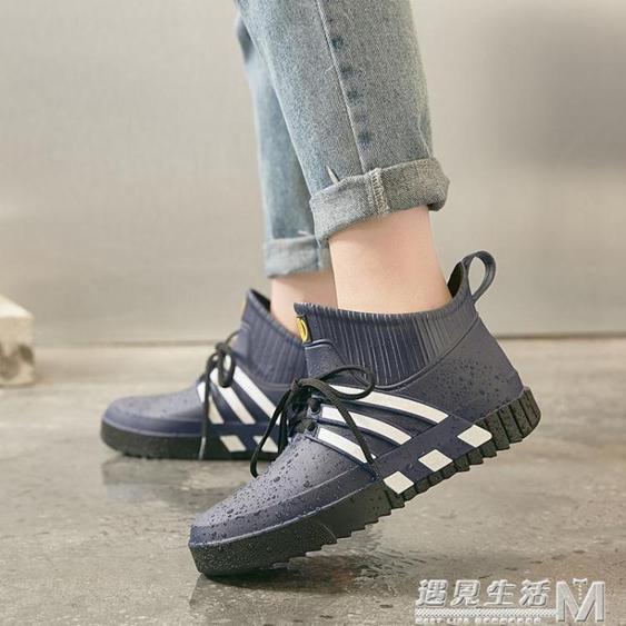 雨鞋男時尚低筒耐磨膠鞋加絨防水套鞋加厚防滑廚房水鞋男雨靴短筒  夏洛特居家名品