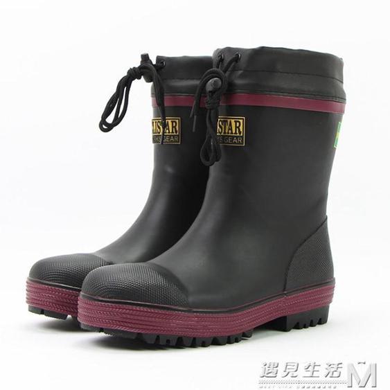 春夏新款高筒鋼頭防砸男勞保工地安全釣魚防水雨鞋雨靴水鞋膠鞋  夏洛特居家名品