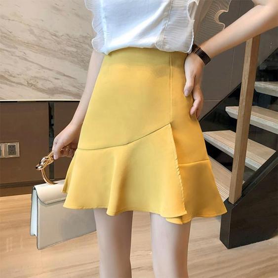 魚尾裙a字半身裙女2020夏季新款高腰顯瘦包臀防走光荷葉邊短裙  夏洛特居家名品