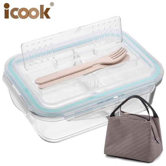 便當盒 男學生韓國分格玻璃保鮮盒密封碗帶蓋微波爐飯盒女