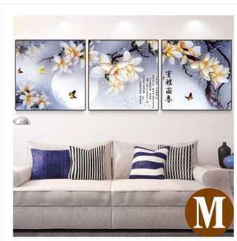 新中式客廳裝飾畫現代簡約沙發背景墻畫三聯畫墻上掛畫無框畫壁畫