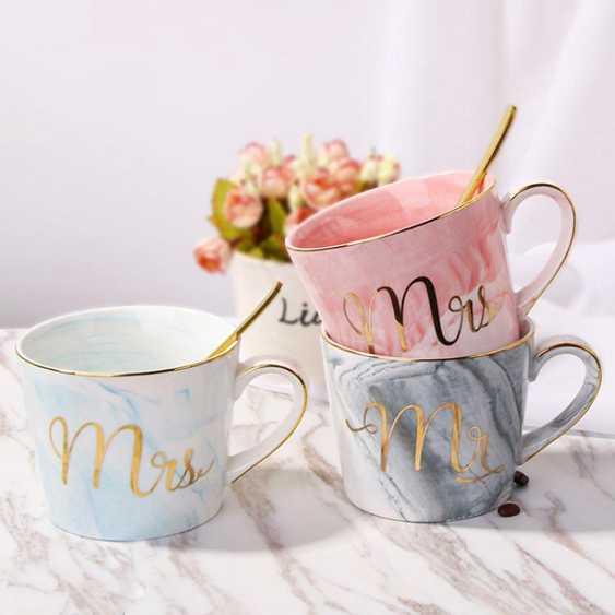 歐式大理石紋陶瓷杯情侶馬克杯家用帶蓋勺水杯辦公杯子男女咖啡杯