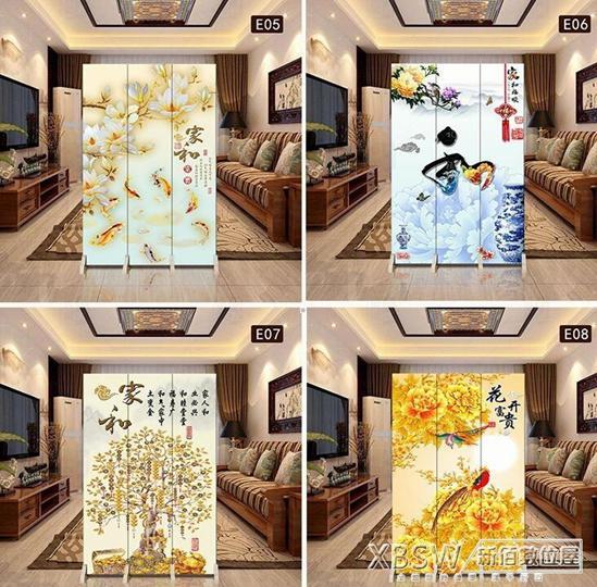 新中式屏風隔斷客廳簡約現代臥室小戶型時尚布藝玄關折疊行動折屏CY
