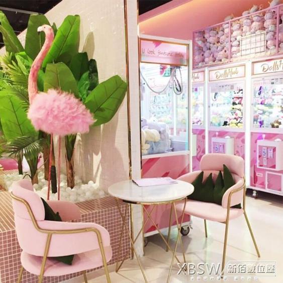 沙發卡座組咖啡廳甜品店水吧餐廳桌椅組合粉色靠背椅可定制CY